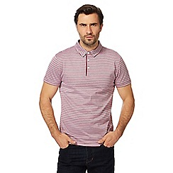 J by Jasper Conran - Big and tall dark pink striped polo shirt
