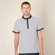 Designer navy slim striped polo shirt