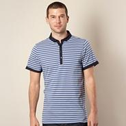 Big and tall designer blue slim striped polo shirt