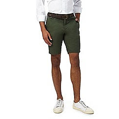 J by Jasper Conran - Big and tall dark green linen shorts with a belt