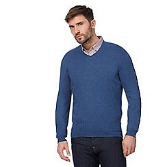 J by Jasper Conran - Big and tall blue v-neckline jumper