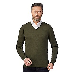 J by Jasper Conran - Big and tall green v-neckline jumper