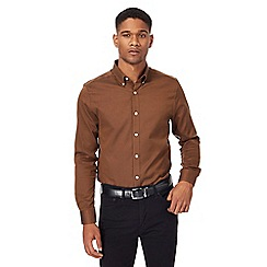 J by Jasper Conran - Big and tall tan regular fit oxford shirt