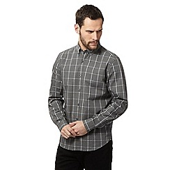 J by Jasper Conran - Grey windowpane checked regular fit shirt