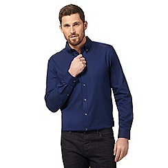 J by Jasper Conran - Dark blue texture Oxford shirt