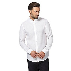 J by Jasper Conran - White long sleeve linen regular fit shirt