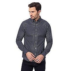J by Jasper Conran - Navy spot print regular fit shirt