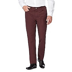 J by Jasper Conran - Big and tall dark red five pocket trousers