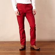 Designer red straight leg chinos