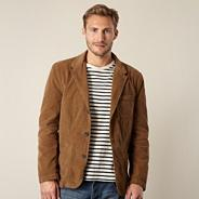 Big and tall designer tan corduroy blazer jacket