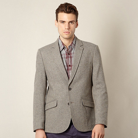 J by Jasper Conran - Designer grey herringbone wool blend blazer