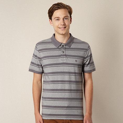 J by Jasper Conran - Designer grey wide striped pique polo shirt