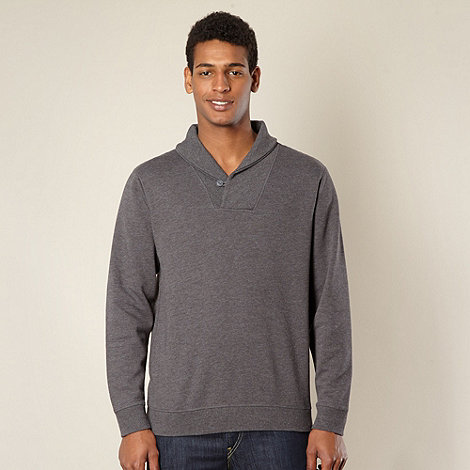 J by Jasper Conran - Big and tall designer grey collared jumper