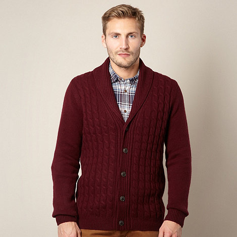 J by Jasper Conran - Designer maroon cable knit cardigan