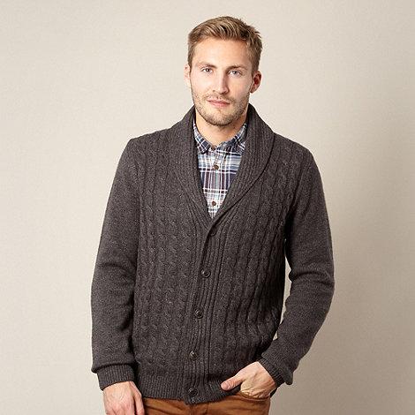 J by Jasper Conran - Big and tall designer dark grey cable knit cardigan