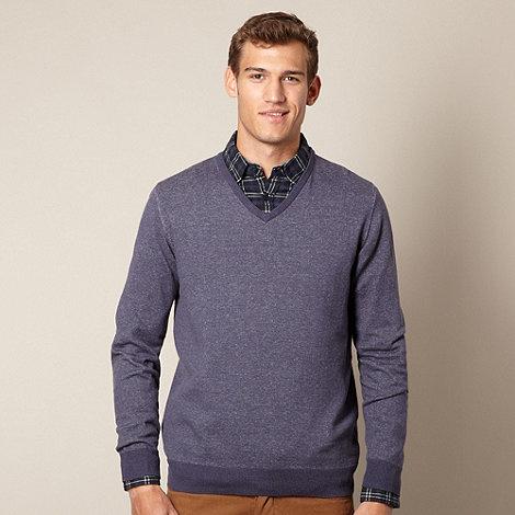 J by Jasper Conran - Designer navy marled V neck jumper
