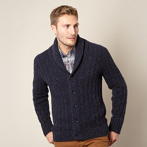 J by Jasper Conran - Designer navy chunky cable knit cardigan