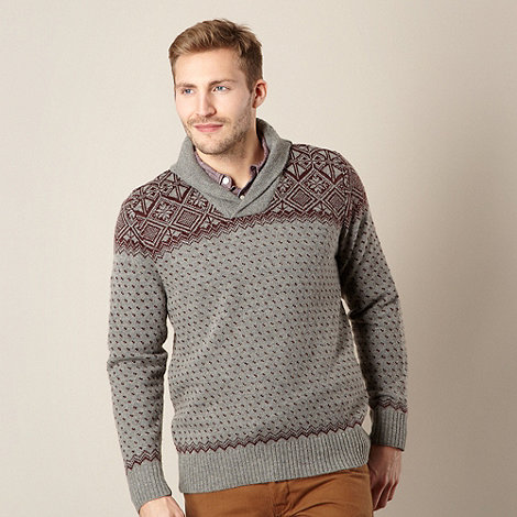 J by Jasper Conran - Big and tall designer grey shawl neck jumper