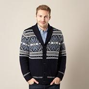 Big and tall designer navy chunky fairisle cardigan