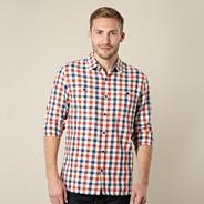Big and tall designer orange contrasting check shirt