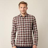 Big and tall designer maroon herringbone checked shirt