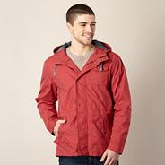 Red hooded three pocket jacket