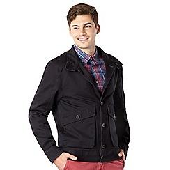 J by Jasper Conran - Big and tall designer navy funnel neck twill jacket
