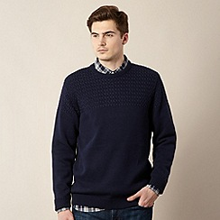 J by Jasper Conran - Big and tall designer navy textured panel jumper