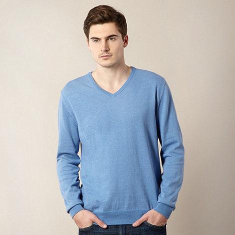 J by Jasper Conran - Designer light blue V neck plain jumper