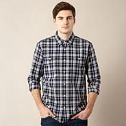 Big and tall designer navy large checked shirt