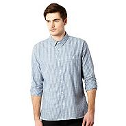 Big and tall designer blue narrow striped shirt
