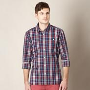 Big and tall designer navy checked shirt