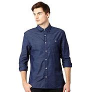 Big and tall designer navy textured striped shirt