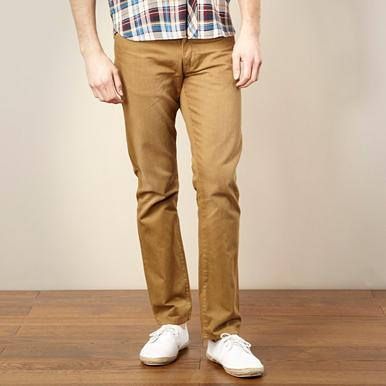 Dark tan straight leg jeans