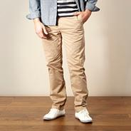 Designer light tan straight leg chinos