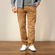 Designer dark tan straight leg chinos