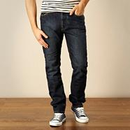 Designer dark blue straight leg jeans