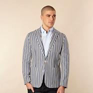 Designer blue varied striped blazer jacket