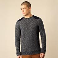 Designer navy cord patch sweatshirt
