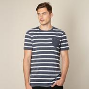 Big and tall designer navy mottled striped t-shirt