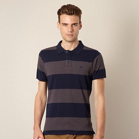 J by Jasper Conran - Big and tall designer grey wide striped polo shirt