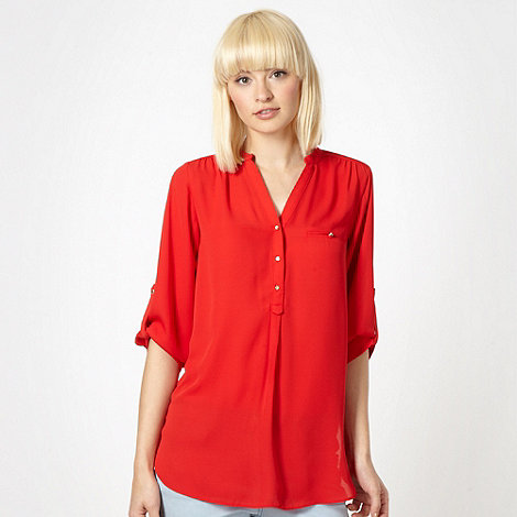 Red Herring - Red chiffon three quarter sleeve blouse