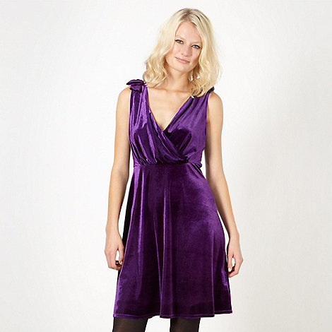 Red Herring - Purple velvet bow shoulder dress
