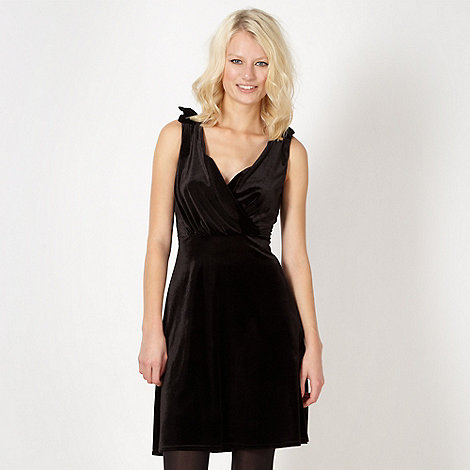 Red Herring - Black velvet bow shoulder dress