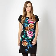 Black floral belted dress