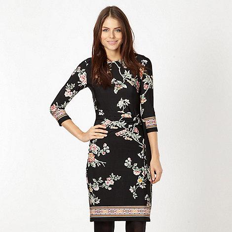 Red Herring - Black floral tie waist dress