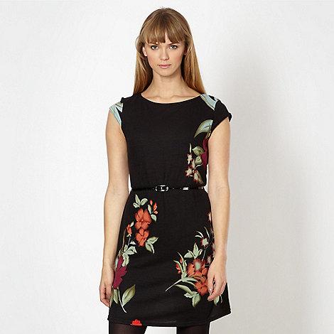 Red Herring - Black floral belted dress