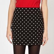 Black heart pattern mini skirt