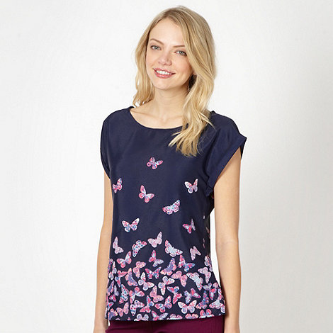 Red Herring - Navy chiffon embellished butterfly shell top