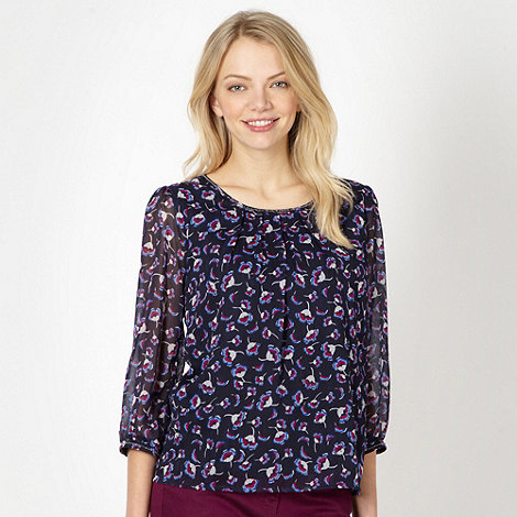 Red Herring - Navy chiffon floral embellished top